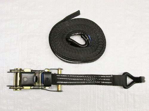 x1 Black 25MM 8M 1.5 Ton Ratchet Strap - 1500KG Metre Tie Down Lashing Claw J Hook